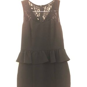 Ark & Co Black Lace Peplum dress